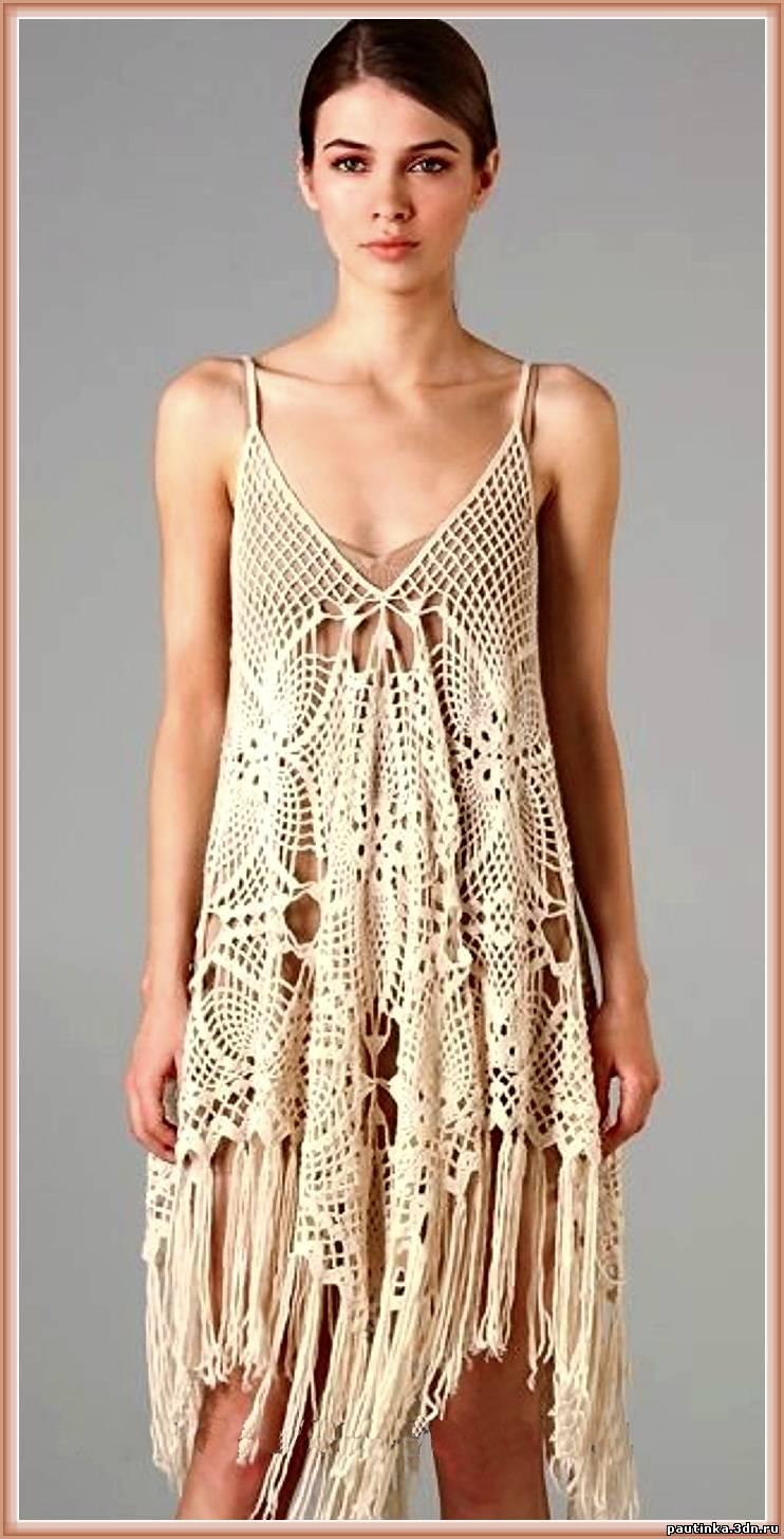 платье связанное из квадратных мотивов обсуждение на Liveinternet