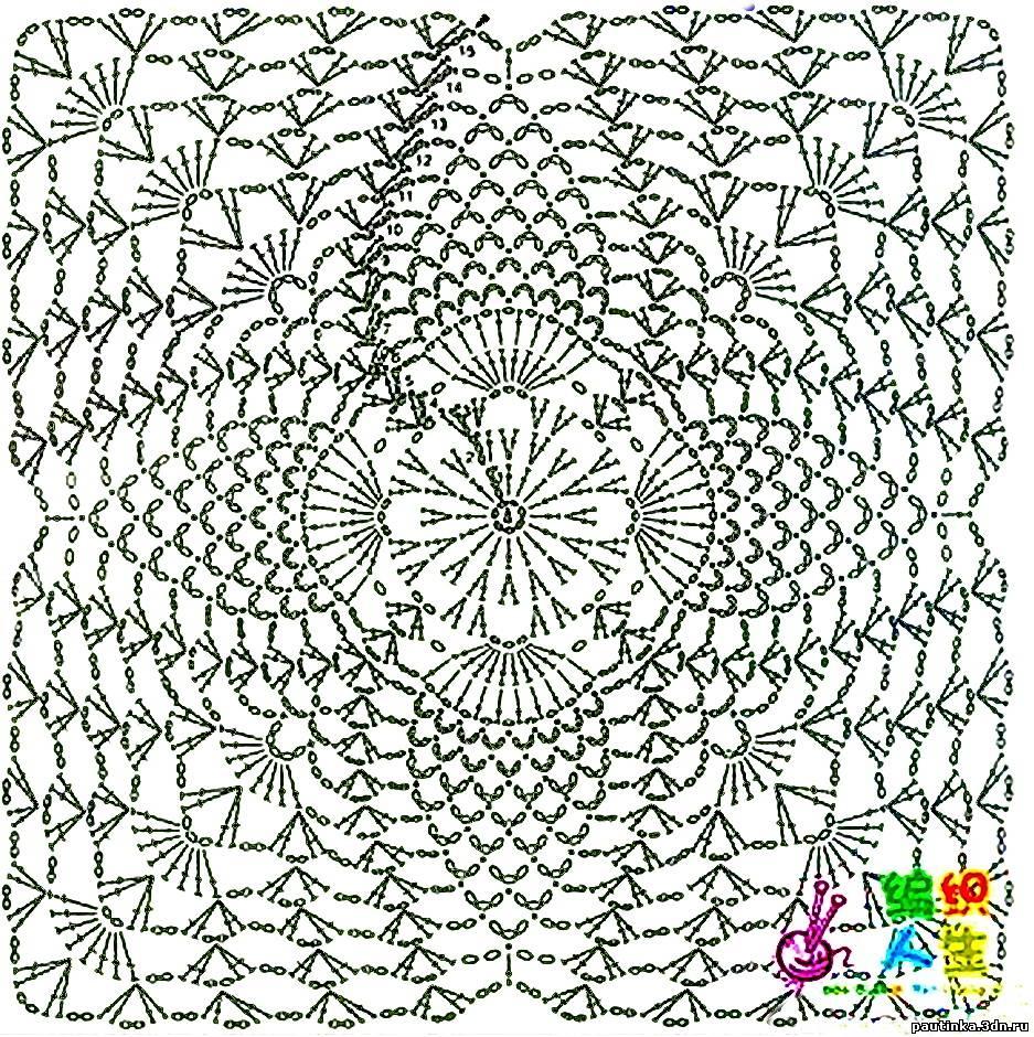 Схемы вязания мотивов квадратов крючок 90